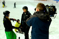 Filming Dominic Cork for Sky Sports at Hemel Hempstead Snow Centre