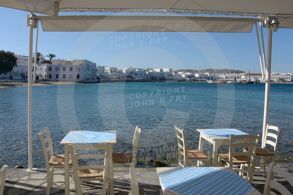Mykonos harbour & seafront, from restaurant veranda